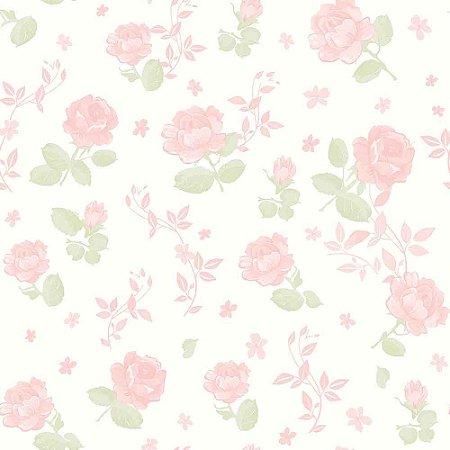 Papel de Parede Infantil Bambinos Floral Rosa 3361