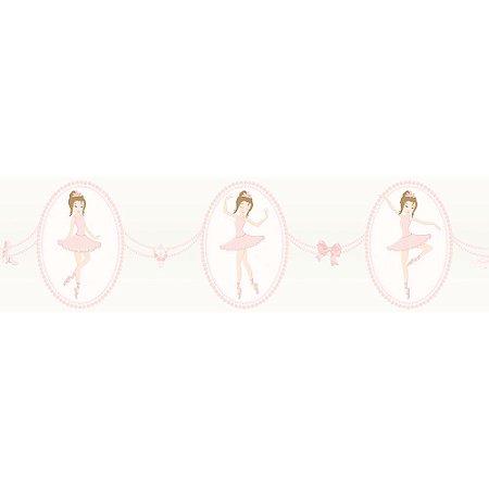 Faixa de Parede Bambinos Bailarina Bege e Rosa 3213
