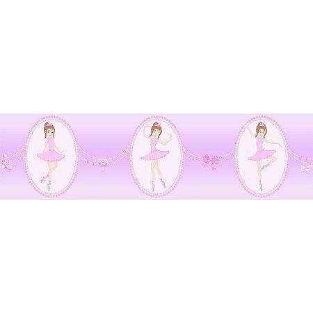 Faixa de Parede Bambinos Bailarina Rosa e Lilás 3214