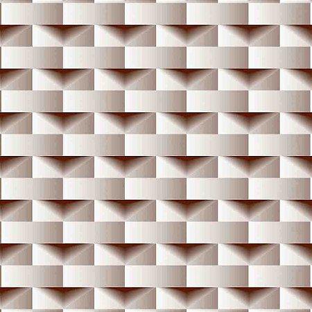 Papel de Parede Dimensões 3D Retângulo Marrom 4700