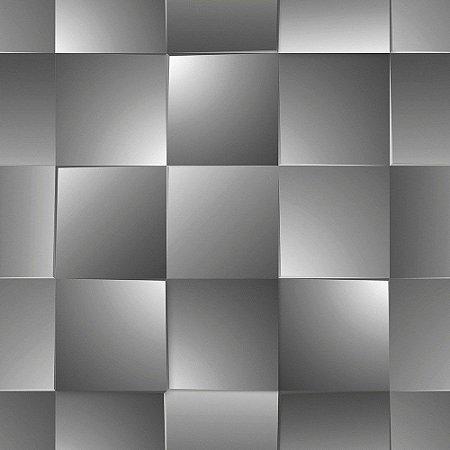 Papel de Parede Dimensões 3D Quadrado Preto 4717