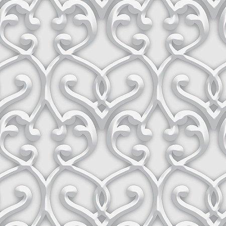 Papel de Parede Dimensões 3D Damask Cinza 4718