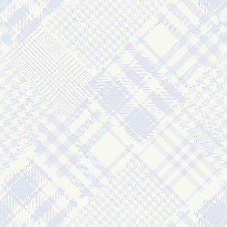 Papel de Parede Infantil Infantário Xadrez Henrique patchwork Azul 1714