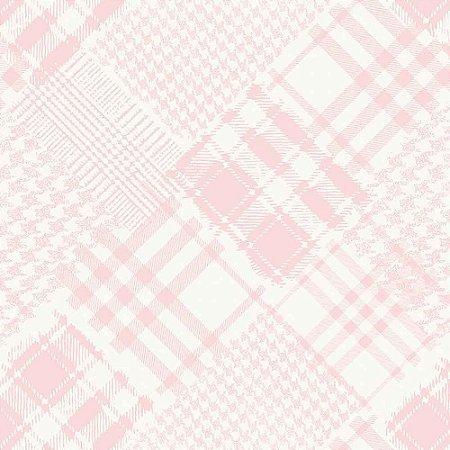 Papel de Parede Infantil Infantário Xadrez Henrique patchwork Rosa 1715