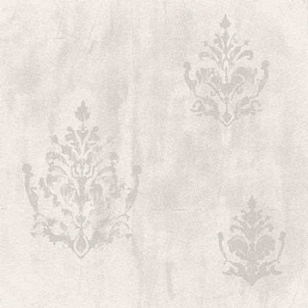 Papel de Parede Natural Cimento Queimado Claro com Arabesco 1427