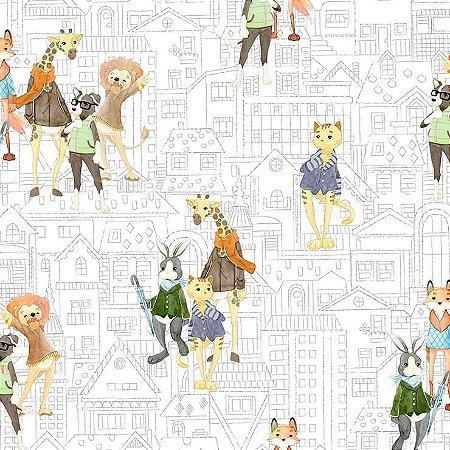 Papel de Parede Infantil Renascer Animais Bichos Urbanos 6201