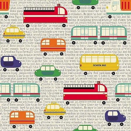 Papel de Parede Infantil Renascer Carros, Caminhões, Ônibus e Trens Rush 6203