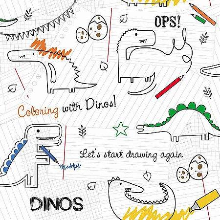 Papel de Parede Infantil Renascer Dinossauro Paperssauro 6206