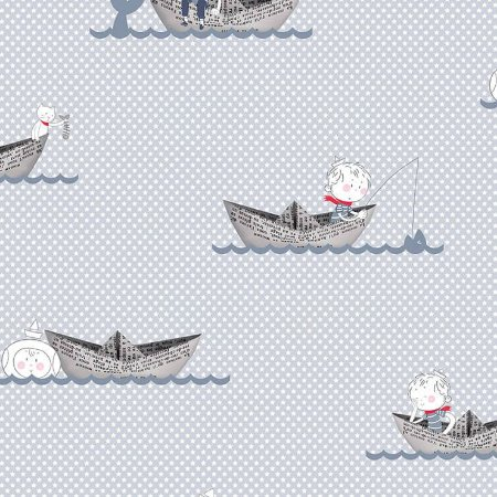 Papel de Parede Infantil Renascer Barco Ao mar 6209