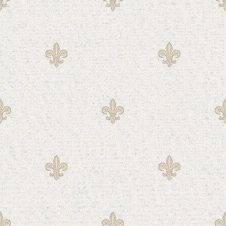 Papel de Parede Infantil Renascer Arabesco Flor de Lis Bege 6231