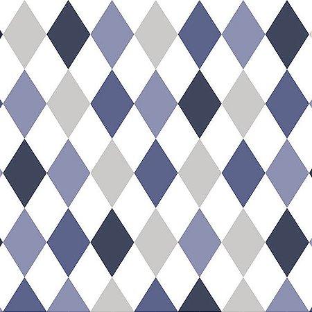 Papel de Parede Infantil Renascer Geométricos Losango Azul 6246
