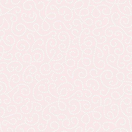 Papel de Parede Infantil Renascer Arabesco Branco e Rosa 6256