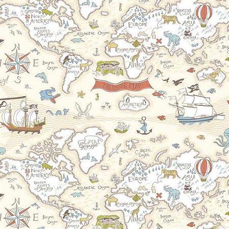 Papel de Parede Infantil Baby Charmed Mapa BB220302