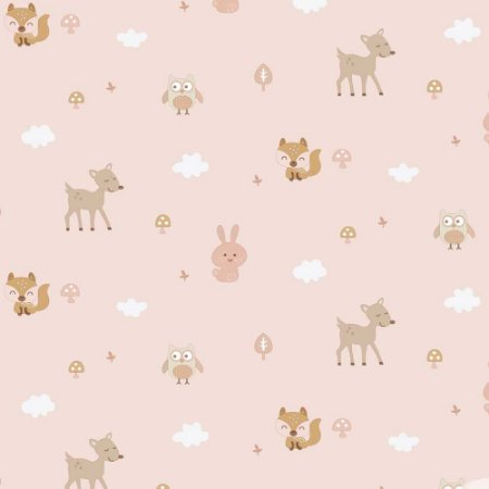 Papel de Parede Infantil Baby Charmed Animais Animais Corujas Corujinhas Coelhos Coelhinhos BB221002