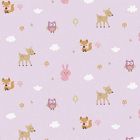 Papel de Parede Infantil Baby Charmed Animais Animais Corujas Corujinhas Coelhos Coelhinhos BB221005