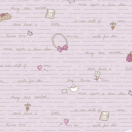 Papel de Parede Infantil Baby Charmed Temas Diversos Laços, Palavras, Letras, Coração, Chá e Flores BB221303