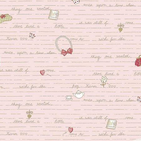 Papel de Parede Infantil Baby Charmed Temas Diversos Laços, Palavras, Letras, Coração, Chá e Flores BB221304