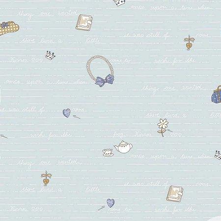 Papel de Parede Infantil Baby Charmed Temas Diversos Laços, Palavras, Letras, Coração, Chá e Flores BB221305