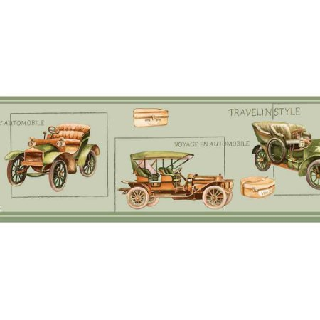 Faixas de Parede Baby Charmed Carros de Época Vintage Retrô BB220005B