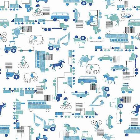 Papel de Parede Infantil Brincar Carros, Caminhões, Ônibus e Trens 3636