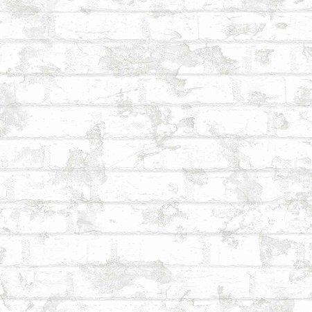 Papel de Parede Tijolinho Branco e Cinza WU20635