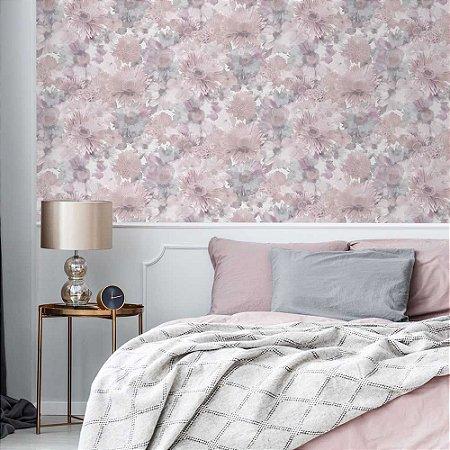 Papel de Parede Leeds Flores Branco e Rosa 106372