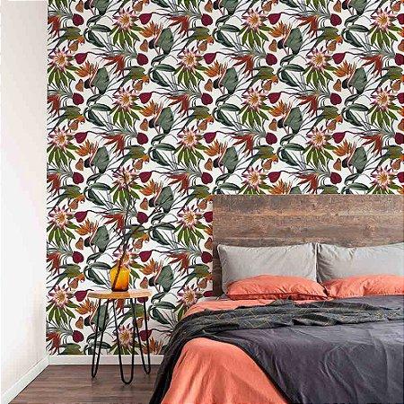 Papel de Parede Green Park Folhagem Floral Folhas e Flores 108601