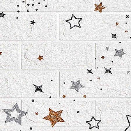 Kit com 10 unidades - Painel 3D Autoadesivo Tijolinho Branco Estrelas