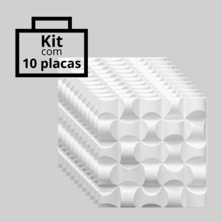 Kit com 10 unidades - Painel 3D Autoadesivo Troia Branco
