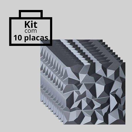 Kit com 10 unidades - Painel 3D Autoadesivo Alpes Preto