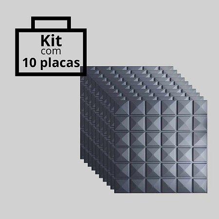 Kit com 10 unidades - Painel 3D Autoadesivo Inca Preto