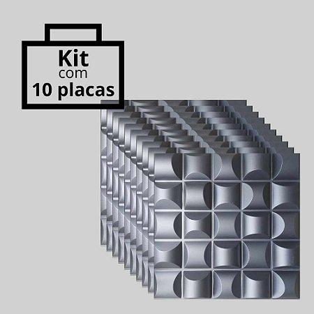 Kit com 10 unidades - Painel 3D Autoadesivo Troia Preto