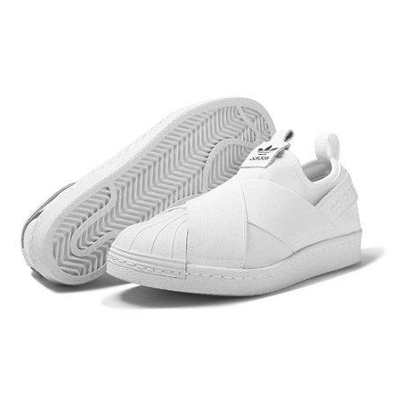 Tênis Adidas Superstar Slip On Unissex - Branco e Preto