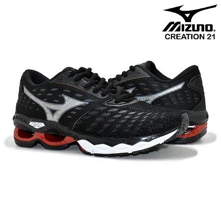Tênis Mizuno Wave Creation 21 Masculino - Preto e Vermelho