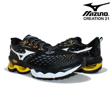 Tênis Mizuno Wave Creation 21 Masculino - Preto Amarelo