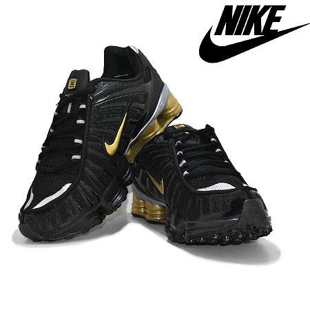 Tênis Nike Shox 12 Molas R4 Masculino - Preto e Dourado