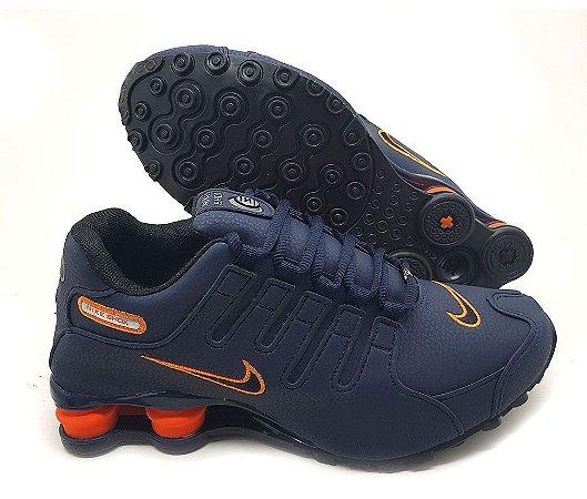 Tênis Nike Shox NZ Running Masculino - Marinho e Laranja