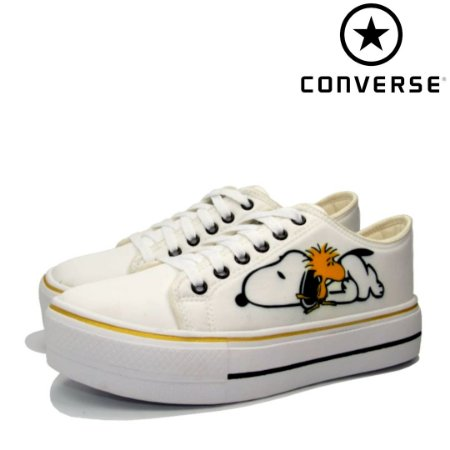 Tênis Converse All Star Plataforma Snoopy Feminino - Branco