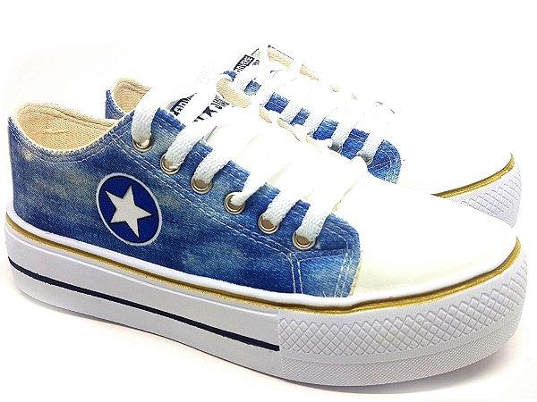Tênis Converse All Star Plataforma Jeans Capitão America - Feminino