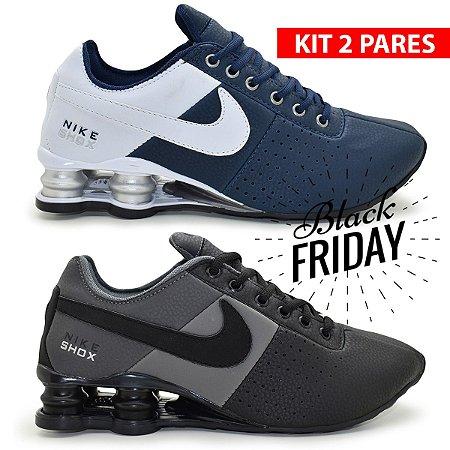 Combo 2 Pares de Tênis Nike Shox Classic Deliver Masculino | Azul e Grafite