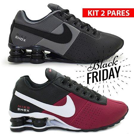 Combo 2 Pares de Tênis Nike Shox Classic Premium - Grafite e Bordo