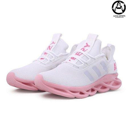ataque Descompostura abdomen  Tênis Adidas Maverick Yeezy Boost Feminino - Branco e Rosa - Alpha Imports  | Preços Imperdíveis - Atacado e Varejo. Confira!