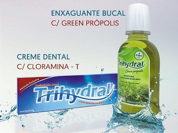 Kit - 4 x Creme Dental 50g: Cloramina-T + 4 x Enxaguante 250ml: Green Própolis