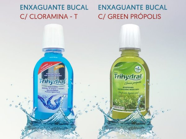 Kit - 5 x Enxaguante 250ml: Cloramina-T + 5 x Enxaguante 250ml: Green Própolis
