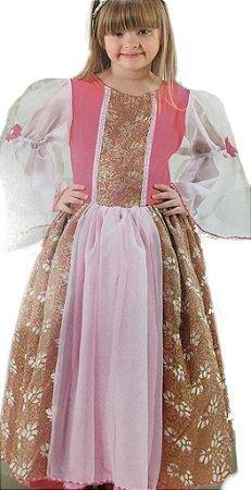 Vestido Princesa Infantil Rosa Dourado