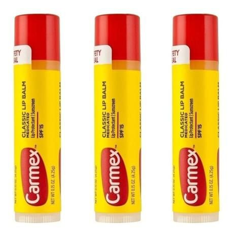 Kit Carmex Lip Balm Medicated bastão com 3 unidades