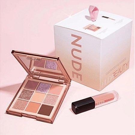 Nude Gift Set Huda Beauty Paleta Ligth Obssessions + Mini Batom Liquido cor Bombshell