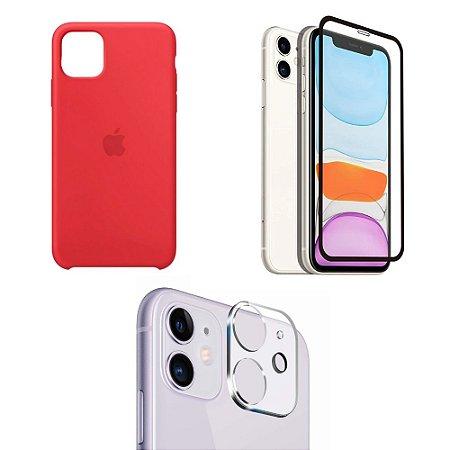 Kit Capa Vermelha, Película 3D e Película para Câmera iPhone 11