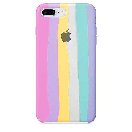 Capa Case Silicone para iPhone 7/8 Plus - Arco Íris Rose