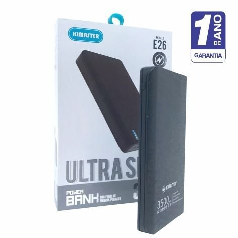 Carregador Portátil Power Bank Kimaster 3500 Mah Original Ultra Slim - Preto